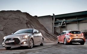 Обои wallpapers, Veloster, car, two, Turbo, Hyundai, mixed