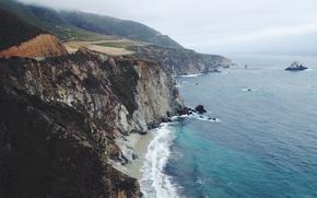 Картинка дорога, волны, пляж, туман, скалы, Калифорния, островок, береговая линия, Соединенные Штаты, Сан-Симеон