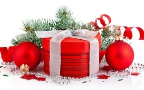 Картинка праздник, коробка, подарок, шары, елка, Красная, бусы, упаковка, круглая