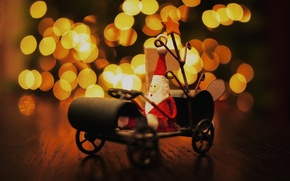 Картинка огни, стол, настроение, праздник, игрушка, новый год, сани, дед мороз, сувенир