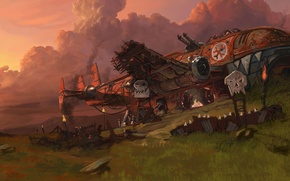 Картинка корабль, крушение, орки, warhammer 40k, барикады