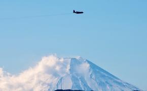 Обои Фусса, гора Кумотори, префектура Токио, самолёт, небо, C-130 Hercules, Япония