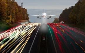 Картинка дорога, огни, выдержка, самолёт