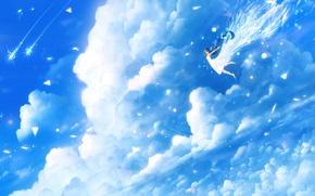 Картинка небо, облака, аниме, арт, девочка