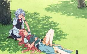 Обои поле, девушки, дерево, настроение, нежность, тень, жест, touhou, izayoi sakuya, art, hong meiling, hakui ami