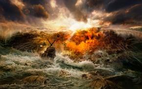 Обои буря, волны, кораблекрушение