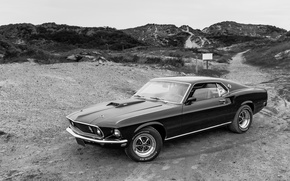 Картинка Mustang, Ford, классика, черно-белые