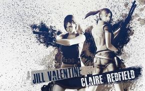 Картинка оружие, gun, Resident Evil, Biohazard, Jill Valentine, Claire Redfield