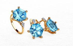 Картинка золото, кольцо, украшение, сережки, diamond, набор, топаз