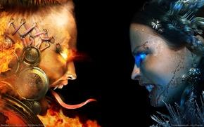 Обои Огонь, Девушки, blood magic, Лёд