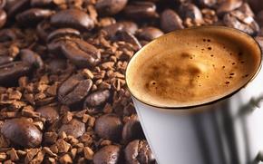 Обои настроения, кружка, кофе, чашка, зерна
