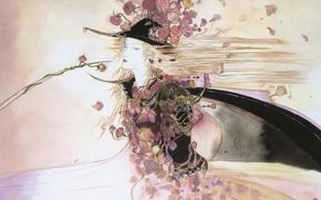 Картинка рисунок, розы, шляпа, плащ, клинок, Ди охотник на вампиров, Vampire hunter D, длинные белые волосы, …