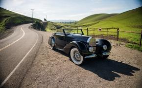 Картинка дорога, ретро, забор, холм, Bugatti, Cabriolet, 1936, Stelvio