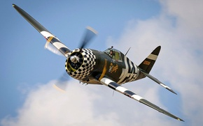 Картинка истребитель-бомбардировщик, Вторая Мировая, P-47 Thunderbolt, Авиация США