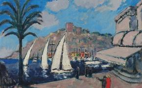 Картинка море, пейзаж, город, лодка, дома, картина, яхта, парус, Kees van Dongen, Cannes yachts in Port