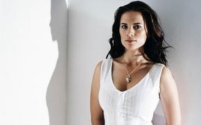 Картинка стены, тень, макияж, актриса, прическа, фотосессия, Хейли Этвелл, Hayley Atwell, брюнетка.в белом.платье