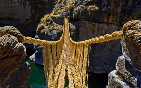 Картинка горы, река, скалы, каньон, ущелье, Перу, веревочный мост, Q'iswa Chaka, Апуримак