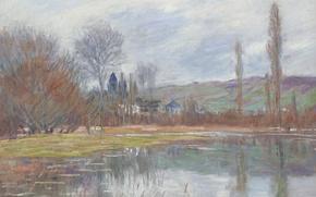 Картинка пейзаж, Весна в Ветей, картина, Клод Моне