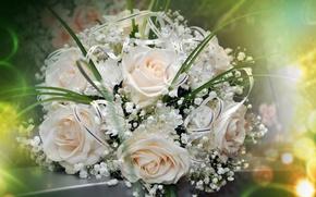 Картинка праздник, розы, букет