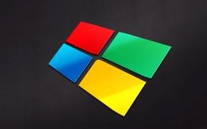 Картинка компьютер, обои, логотип, эмблема, windows, объем, рельеф, hi-tech, операционная система