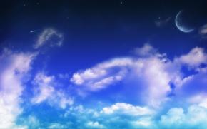 Обои heaven, clouds, view, луна, moon, небеса, небо, sky, nature, облака