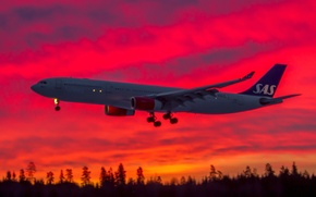 Картинка небо, самолет, зарево, лайнер