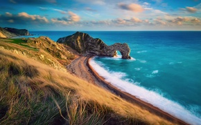 Картинка Англия, Дорсет, Юрское побережье, естественные известняковые скальные ворота Дердл-дор