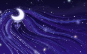 Картинка луна, свет, ночь, девушка, небо, фантастика, звезды