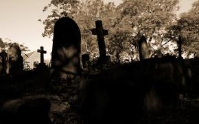 Картинка грусть, смерть, мрак, печаль, кресты, кладбище, тоска, мрачно, надгробье
