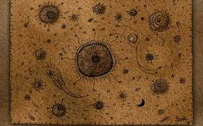 Картинка планеты, вектор, ракеты, космонавты, спутники