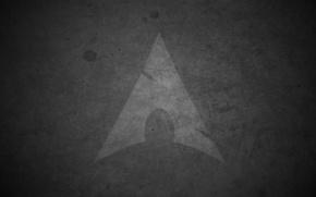 Картинка капли, серый, тень, стрела, Arch Linux