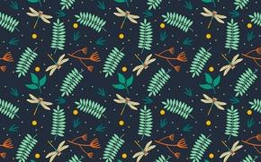 Картинка листья, узор, стрекозы