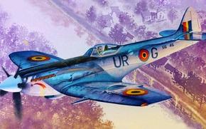 Картинка рисунок, арт, Spitfire, Supermarine, английский истребитель, Mk.XIVE