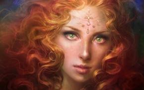 Картинка взгляд, девушка, лицо, арт, рыжая, живопись, кудри