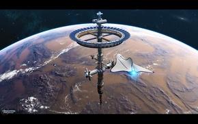 Картинка космос, планета, звёзды, полёт, космическая станция, Phoenix Station