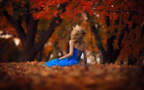 Картинка осень, листья, девушка, ветер, платье, боке