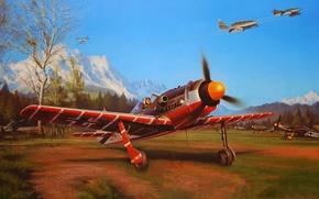 Картинка авиация, рисунок, арт, истребители, Nicolas Trudgian, fw-190, me-262