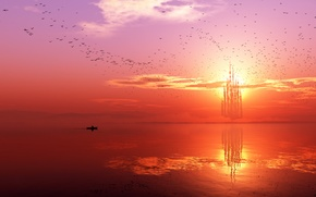 Картинка море, небо, пейзаж, птицы, замок, лодка