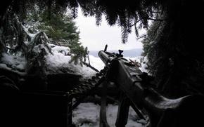 Обои оружие, хвоя, MG-42, снег, засада
