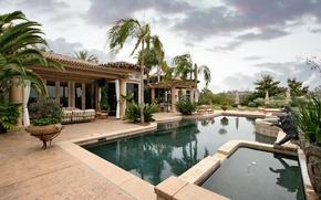Обои стиль, пальмы, тучи, интерьер, вода, бассейн, дизайн