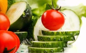 Картинка овощи, помидоры, ломтики, огурцы