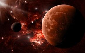 Картинка звезды, красный, Планета