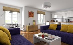 Картинка дизайн, дом, стиль, вилла, интерьер, квартира, жилая комната
