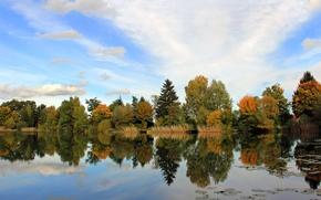 Картинка осень, небо, облака, деревья, отражение, река
