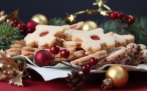 Обои шарики, стол, выпечка, десерт, новогоднее, украшения, печенье