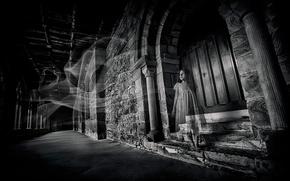Картинка замок, призрак, девочка, Alone