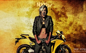 Картинка desktop, wallpaper, photomanipulation, babe, biker, bansee