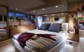 Картинка дизайн, мебель, кровать, интерьер, платье, сумочка, обстановка, каюта