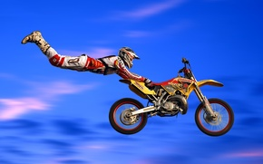 Обои прыжок, мотоцикл, байк, мотокросс