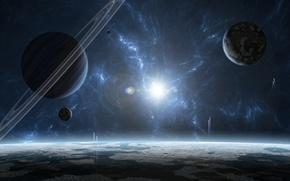 Картинка звезда, планеты, газовый гигант, звездная система